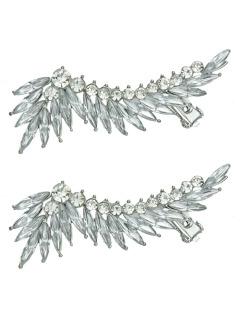 Ear cuff de metal prateado com strass cristal Solna