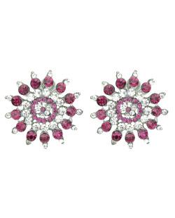 Brinco pequeno de metal com strass cristal e rosa Täby