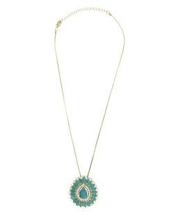 Colar de metal dourado com strass brilhante e azul-turquesa Mossel