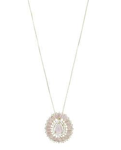 Colar de metal dourado com strass brilhante e rosa Mossel