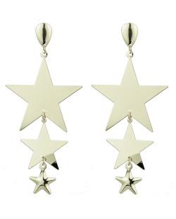 Maxi brinco de metal dourado Stars