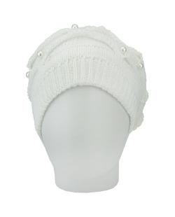 Gorro Beanie tricô com pérolas branco Hout