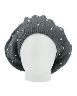 Gorro Beanie tricô com pérolas cinza Brits