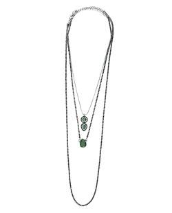 Kit 3 colares de metal grafite com strass preto e verde Ulundi