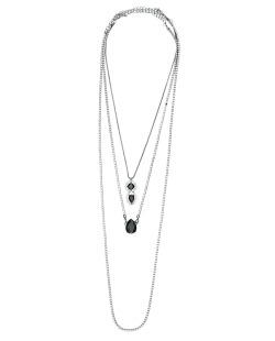 Kit 3 colares de metal grafite com strass cristal e preto Ulundi