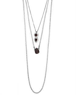 Kit 3 colares de metal grafite com strass cristal e vermelho Ulundi