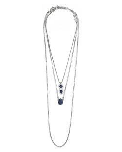 Kit 3 colares de metal grafite com strass cristal e azul Ulundi