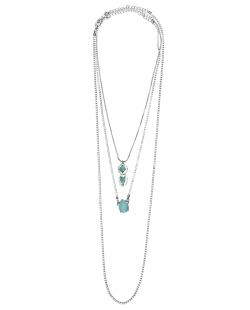 Kit 3 colares de metal grafite com strass cristal e azul-turquesa Ulundi