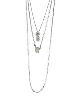 Kit 3 colares de metal grafite com strass cristal e branco Ulundi