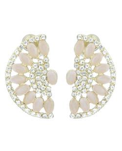 Brinco pequeno dourado com strass cristal e pedra rosa Low