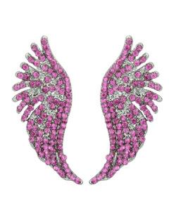 Brinco pequeno grafite com strass rosa pink Angel