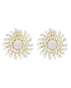 Brinco pequeno dourado com strass cristal e rosa Roberta