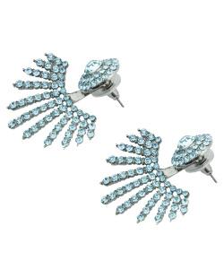 Brinco pequeno prateado com strass azul-turquesa Cirene