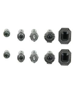 Kit 5 pares de brincos prateados com pedra preta Nayara