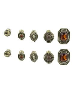 Kit 5 pares de brincos dourados com pedra caramelo Nayara