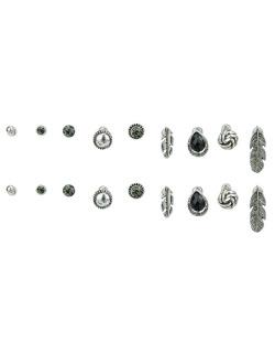 Kit 9 pares de brincos prateados com pedra fumê e preta Sheets