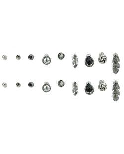 Kit 9 pares de brincos prateados com pedra grafite e preta Sheets