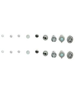 Kit 9 pares de brincos prateados com pedra fumê e turquesa Dari