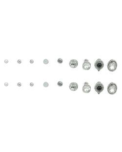 Kit 9 pares de brincos prateados com pedra cristal Dari