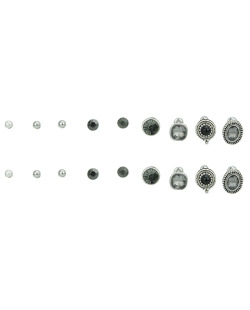Kit 9 pares de brincos prateados com pedra fumê Dari