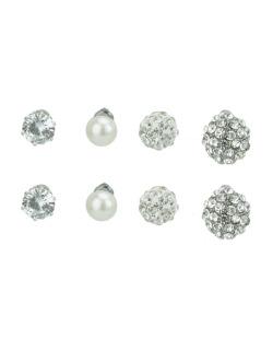 Kit 4 pares de brincos prateado com strass e pedra cristal Marisa