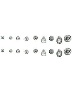 Kit 9 pares de brincos prateados com strass cristal Hun