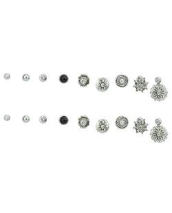 Kit 9 pares de brincos prateados com strass cristal Jadu