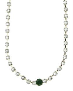 Colar de metal dourado com strass cristal e verde Lom