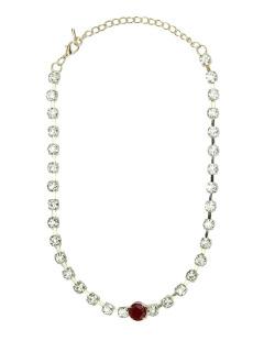 Colar de metal dourado com strass cristal e vermelho Lom