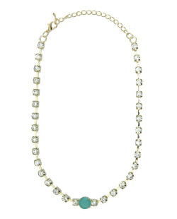 Colar de metal dourado com strass cristal e turquesa Lom