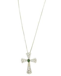 Colar de metal dourado com strass cristal e verde Lutero