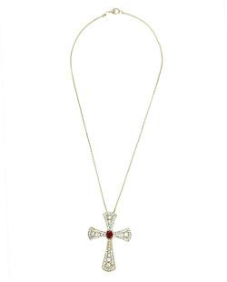 Colar de metal dourado com strass cristal e vermelho Lutero