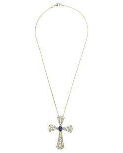 Colar de metal dourado com strass cristal e azul Lutero
