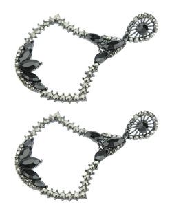 Maxi brinco de metal grafite com strass preto e grafite Nagoia