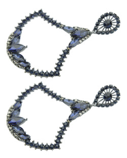 Maxi brinco de metal grafite com strass azul Nagoia