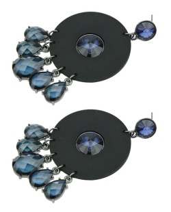 Maxi brinco de acrílico preto com strass azul Chiba