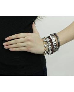 Kit 6 pulseiras de metal grafite e marrom com strass Mokpo