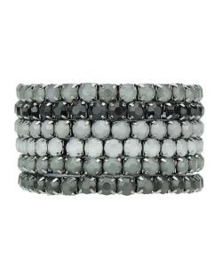 Kit 6 pulseiras de metal grafite com strass preto e cinza Osan