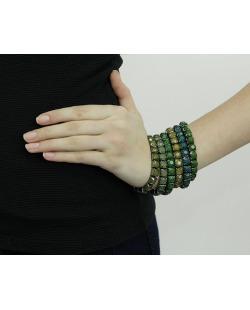 Kit 6 pulseiras de metal grafite com strass verde Songdo