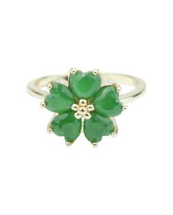 Anel de metal dourado com strass verde Vevey