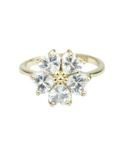 Anel de metal dourado com strass cristal Vevey