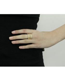 Anel de metal dourado com pérolas Luiza