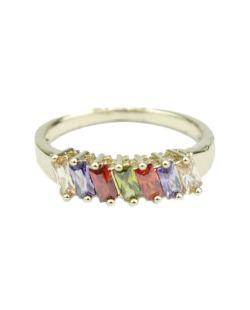 Anel de metal dourado com pedras coloridas  Lunna