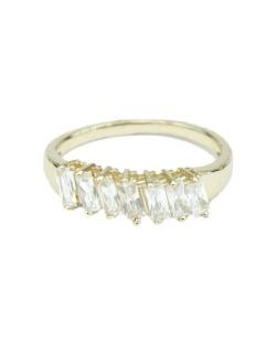Anel de metal dourado com pedra brilhante Lunna