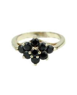 Anel de metal dourado com pedra preta Deborch
