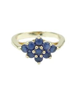 Anel de metal dourado com pedra azul Deborch