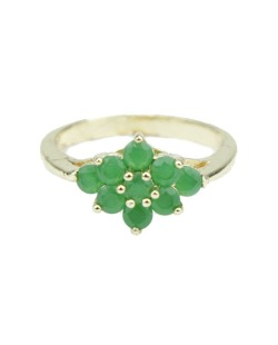 Anel de metal dourado com pedra verde Deborch