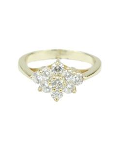 Anel de metal dourado com pedra cristal Deborch