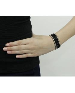 Pulseira de courino preta com strass preto e cristal Vera