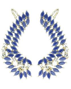 Ear Cuff de metal dourado com strass cristal e pedra azul Eduarda
